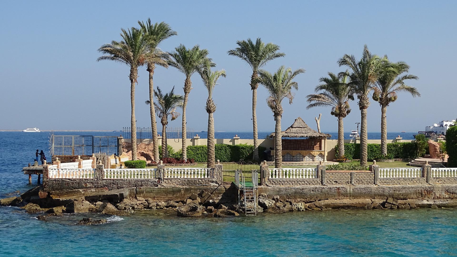 Egypte Hurghada vakantie palmbomen